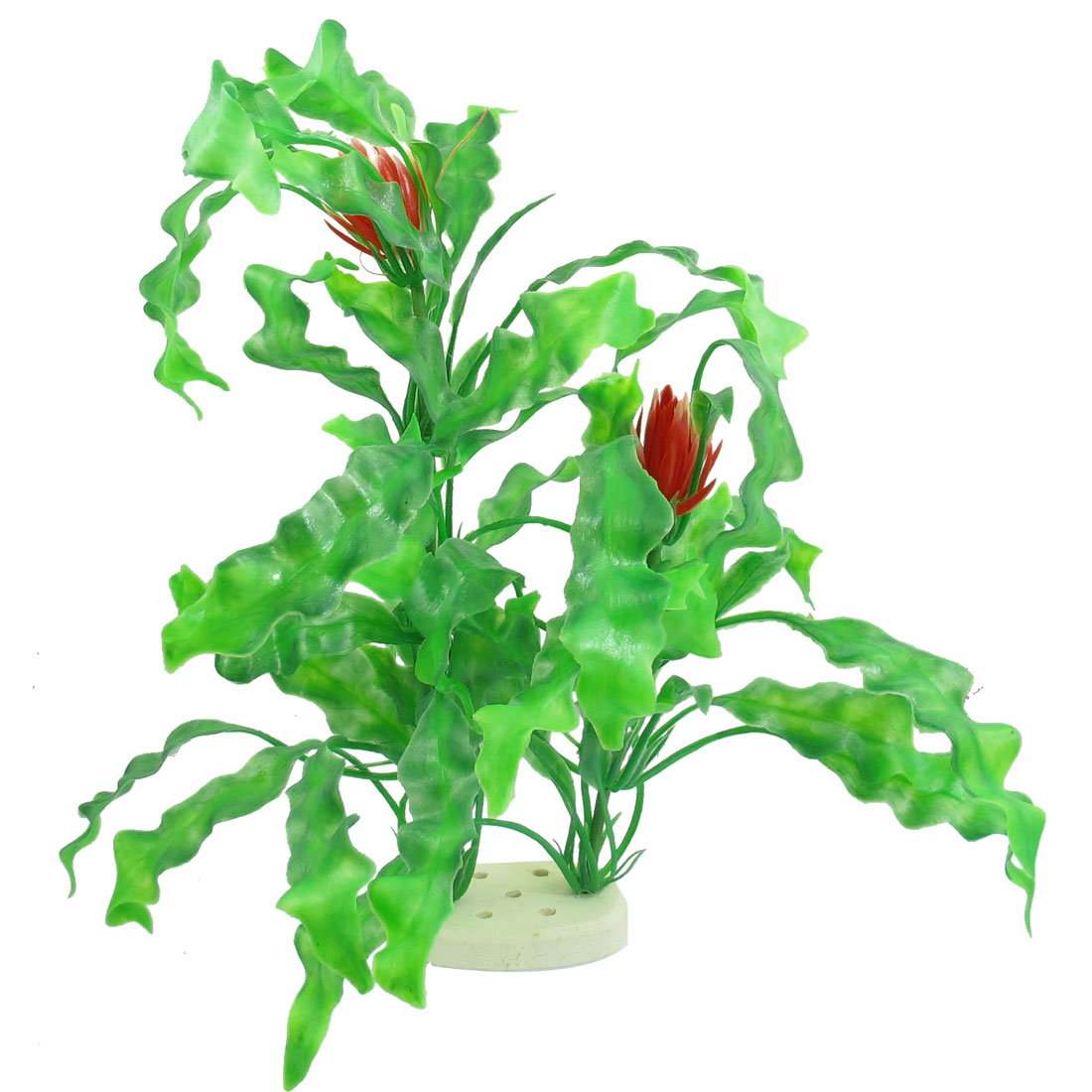 """15.7"""" x 13.4"""" Red Dual Flower Green Plastic Plant for Fish Tank"""