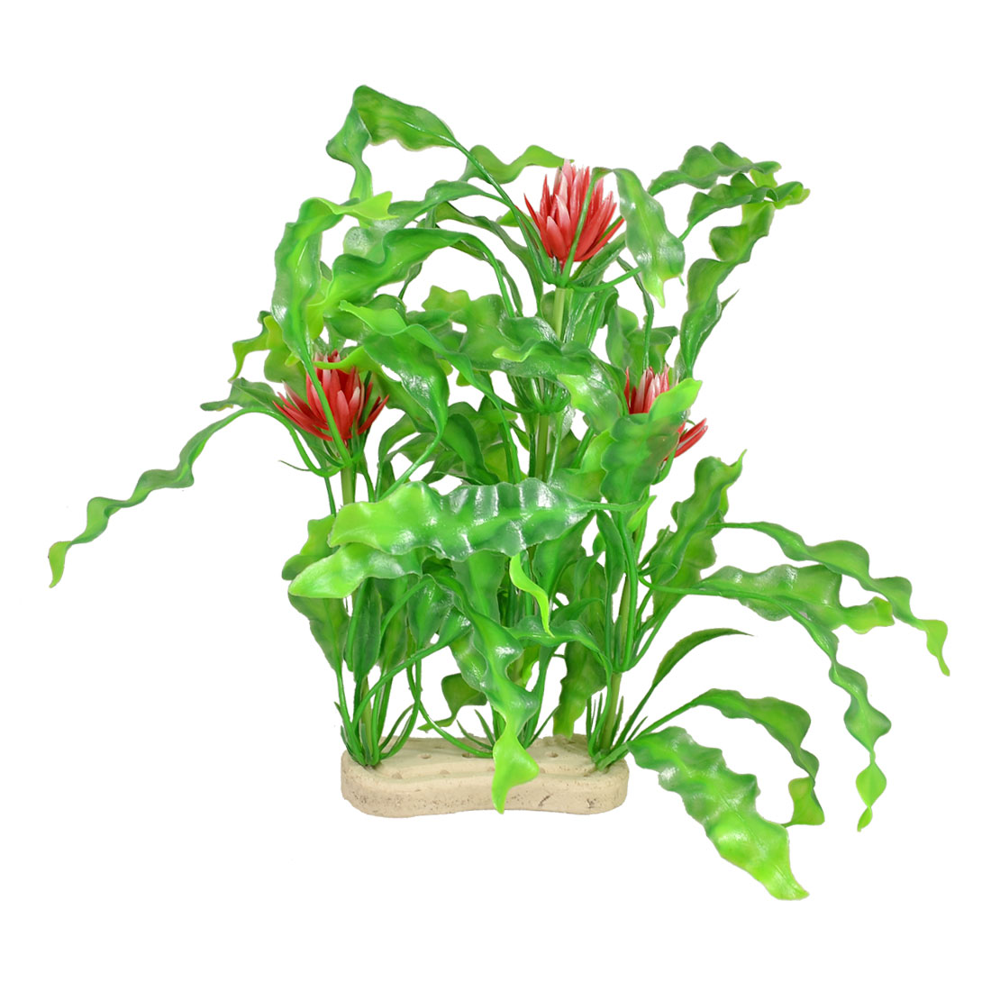 "13"" Height Red Flowers Decor Green Artificial Grass for Fish Tank Aquarium"