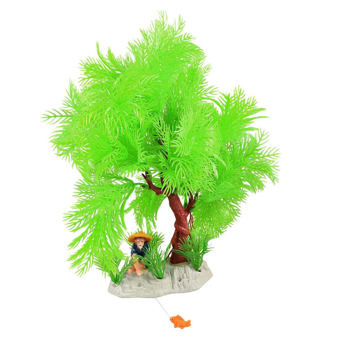 Aquarium Fish Tank Plastic Fisherman Green Tree Water Plants Decor 11""