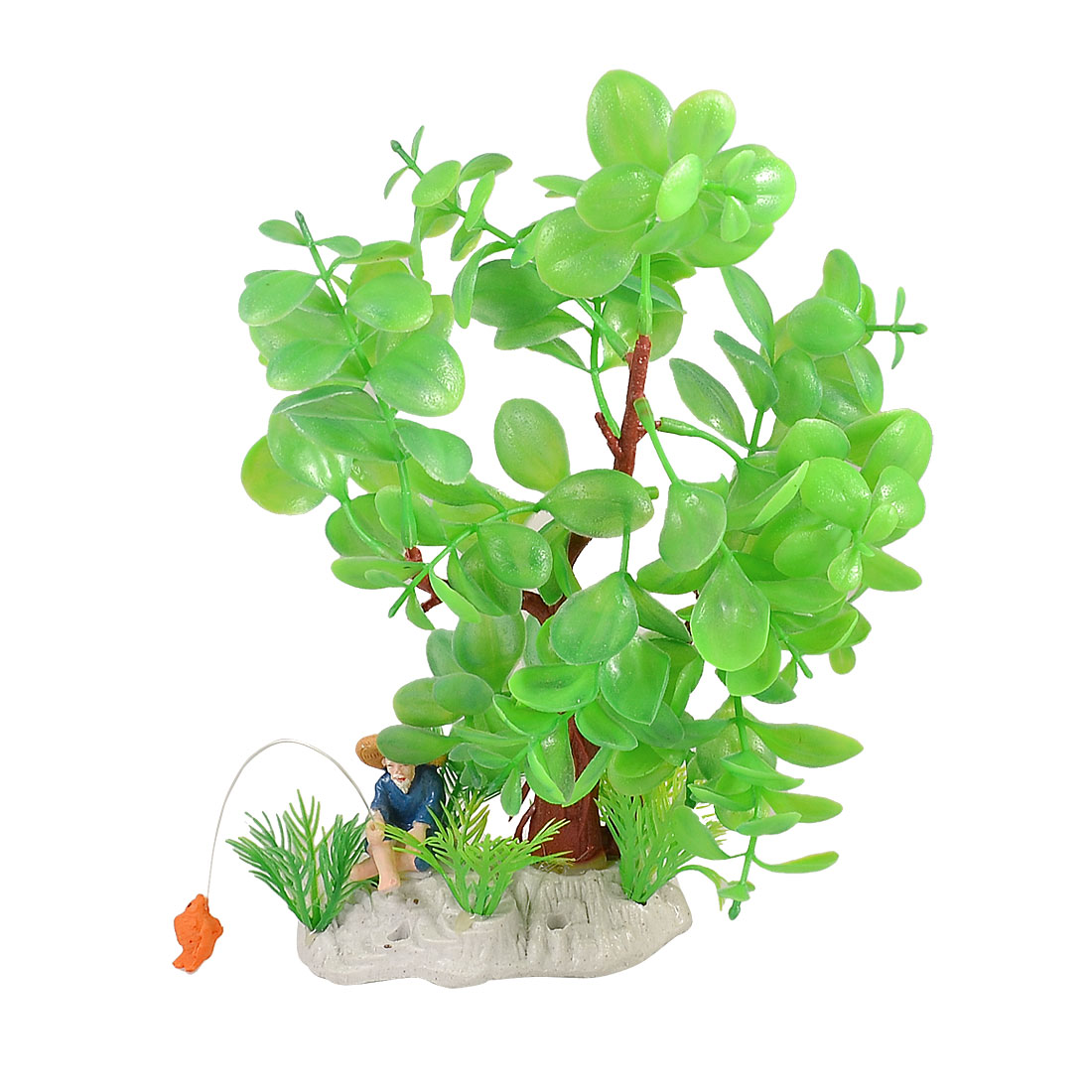Aquarium Tank Lifelike Fisherman Decor Manmade Green Plastic Leaves Water Plant