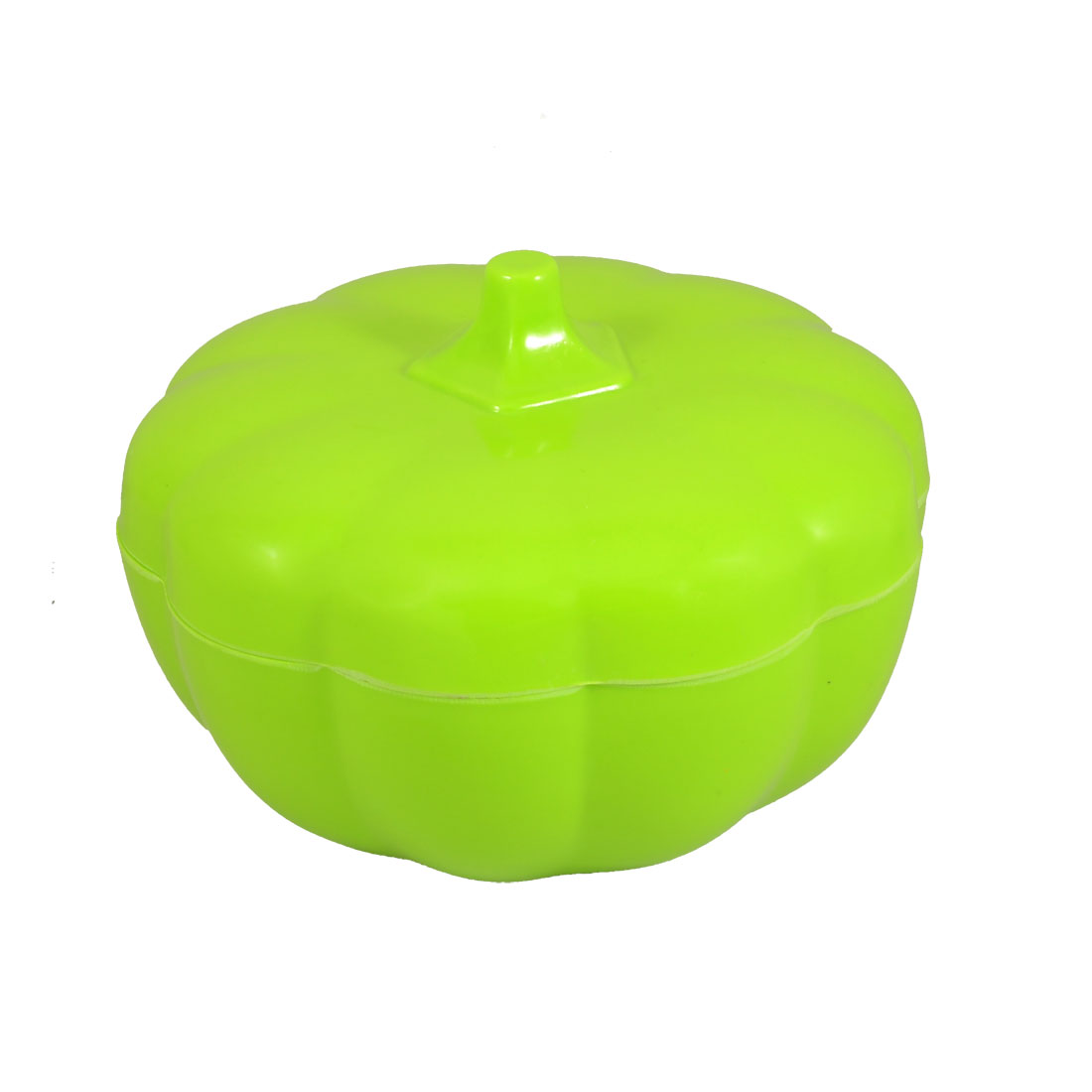 "Home Plastic 5.9"" Dia Pumpkin Shape Covered Candy Dish Bowl Green"