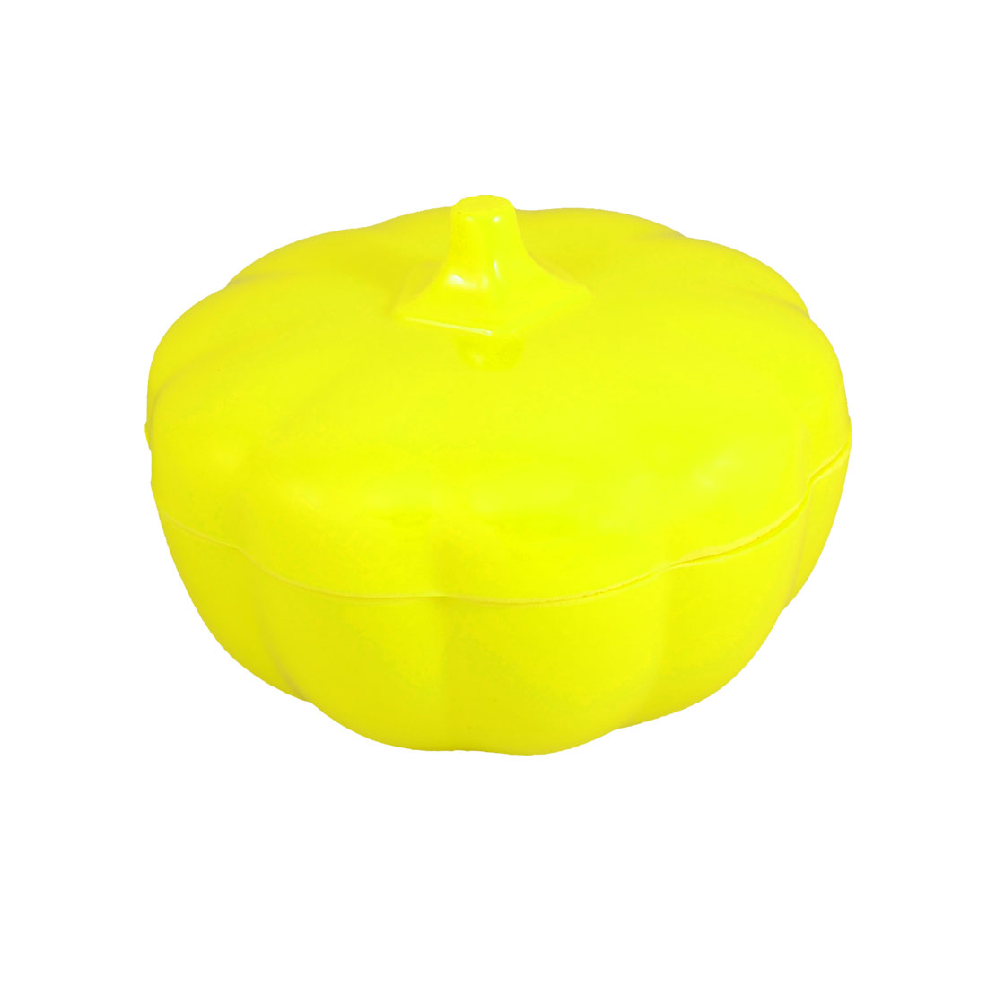 "Yellow Hard Plastic 5.9"" Dia Pumpkin Covered Candy Dish Tray"
