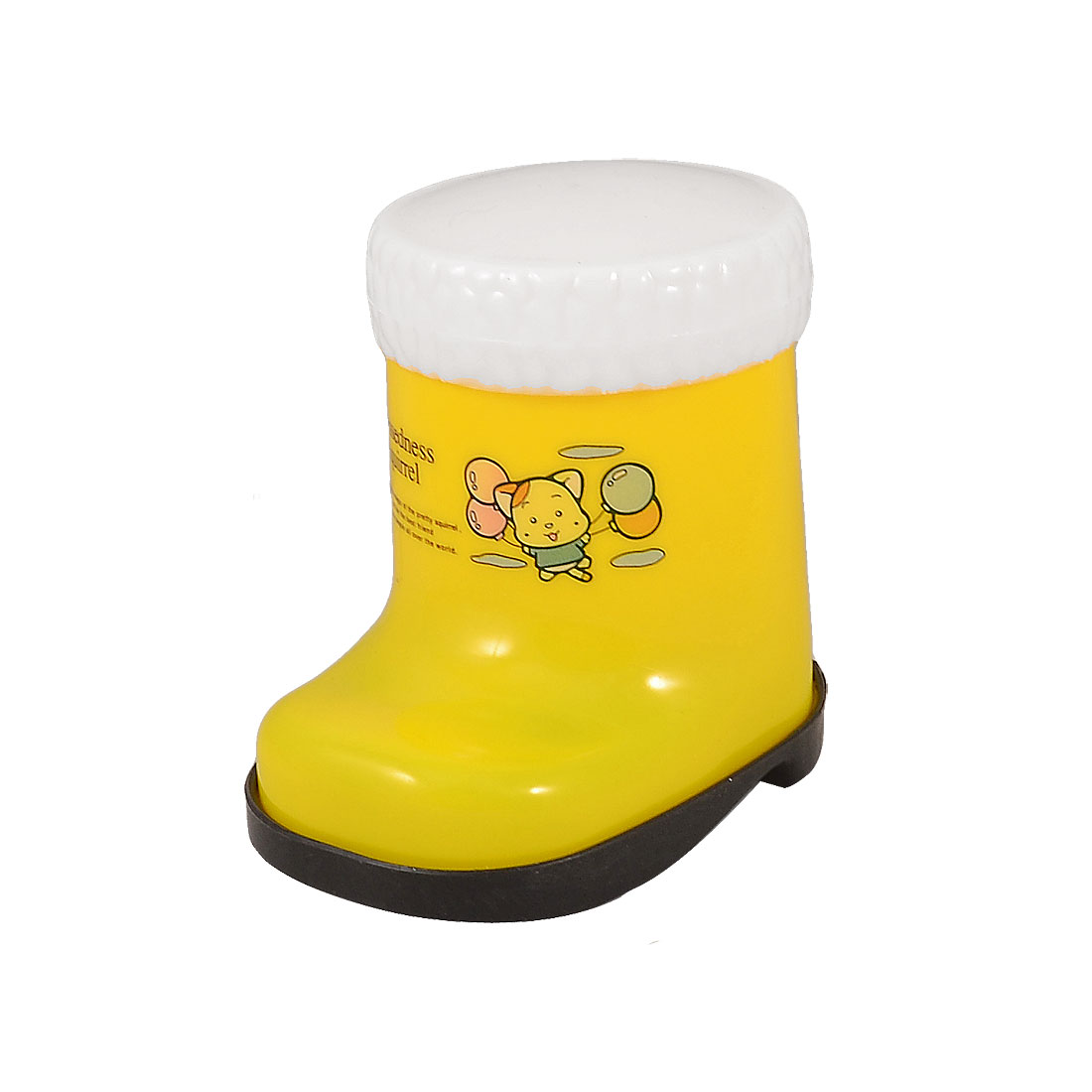 Yellow Cartoon Boot Style Plastic Toothpick Holder Case Container