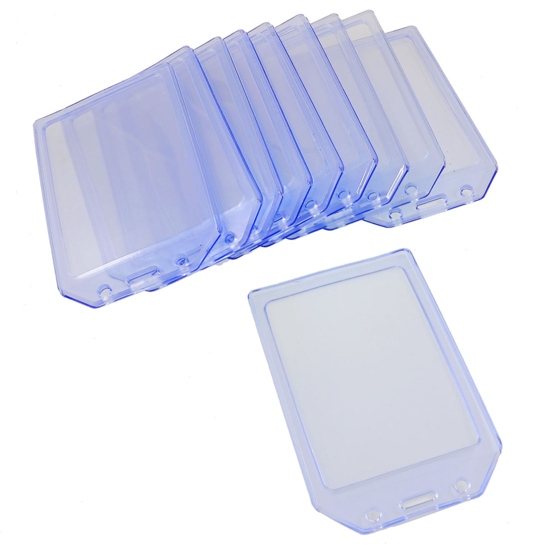 10 Pcs Clear Blue Solft Plastic Vertical A7 ID Card Badge Holders