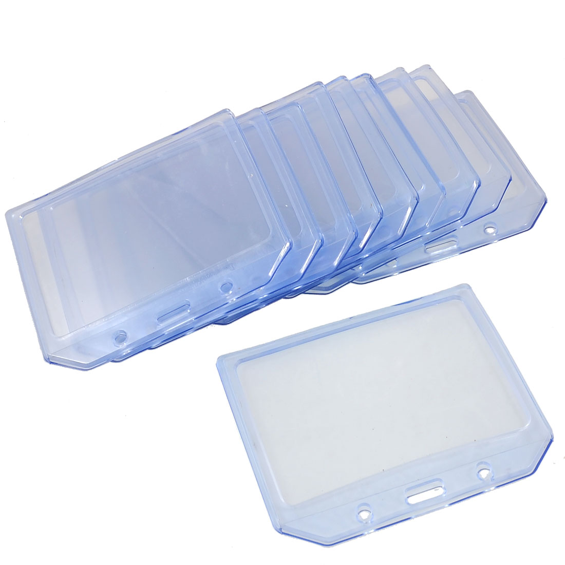 10 Pcs Office Solft Plastic Clear Blue Horizontal B7 ID Card Badge Holders