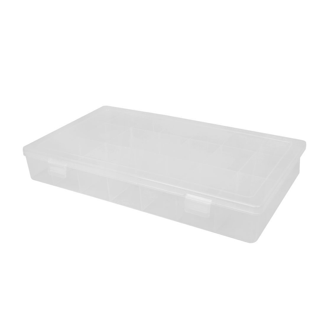 Clear White Plastic 21 Compartments Screws Thumbtack Storage Case Box