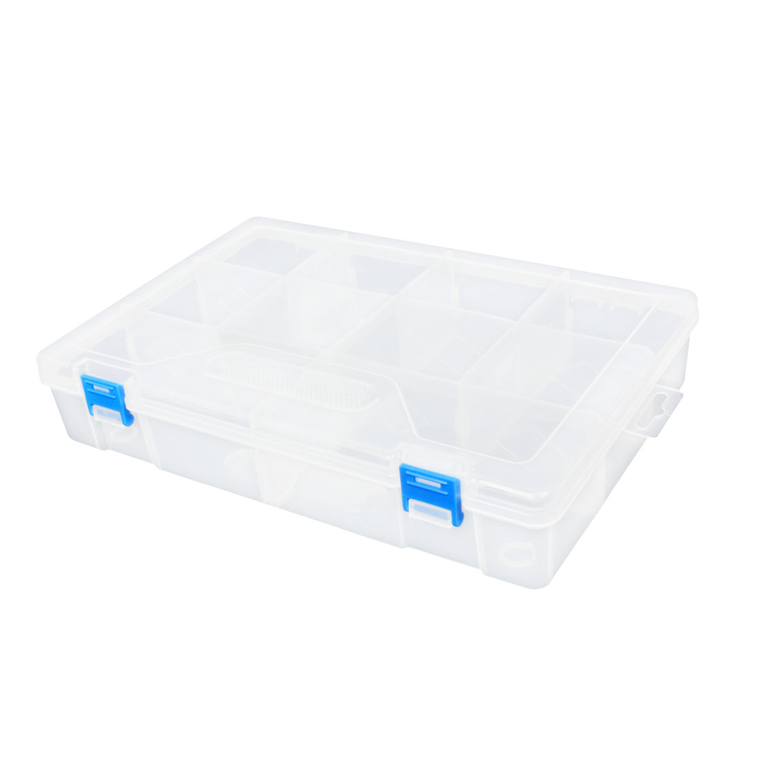 Removable Sheet Design Clear White Plastic 10 Compartments Storage Case Box
