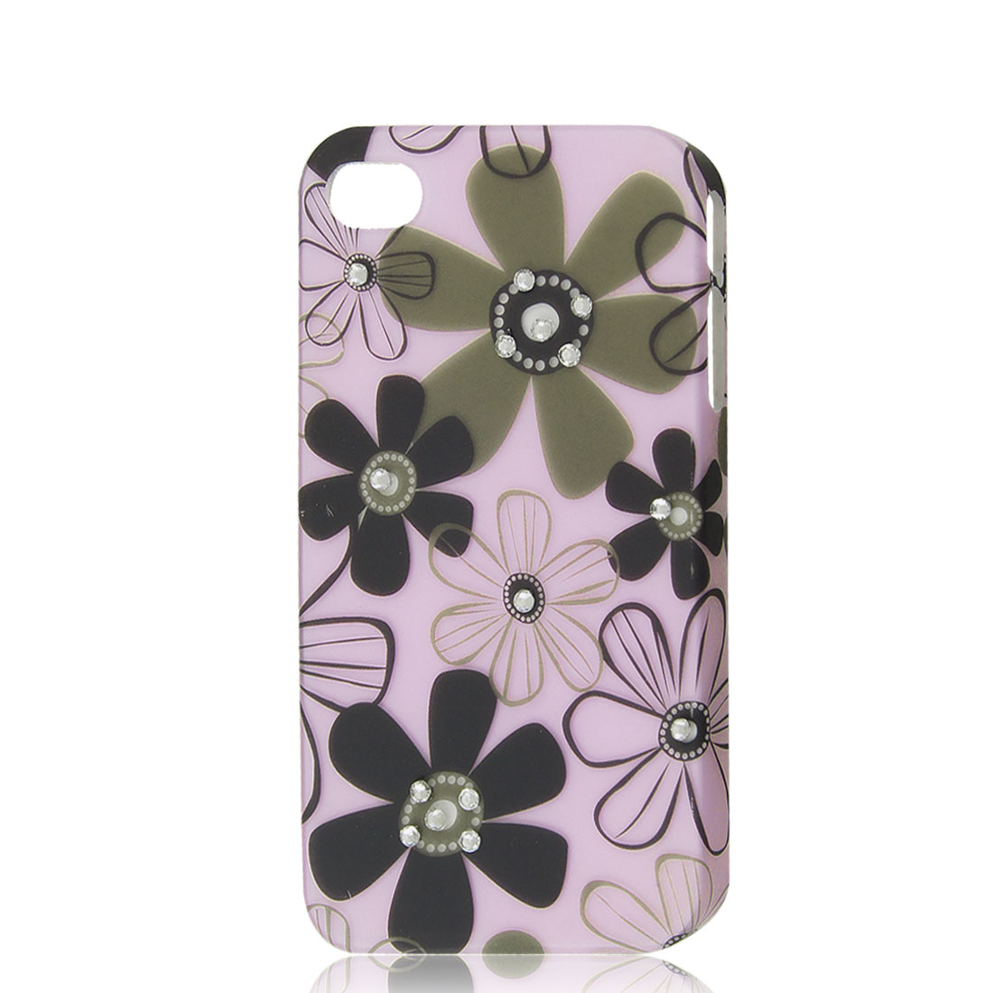 Light Pink Rhinestone Flower Protective Hard Back Case Cover Skin for iPhone 4 4G