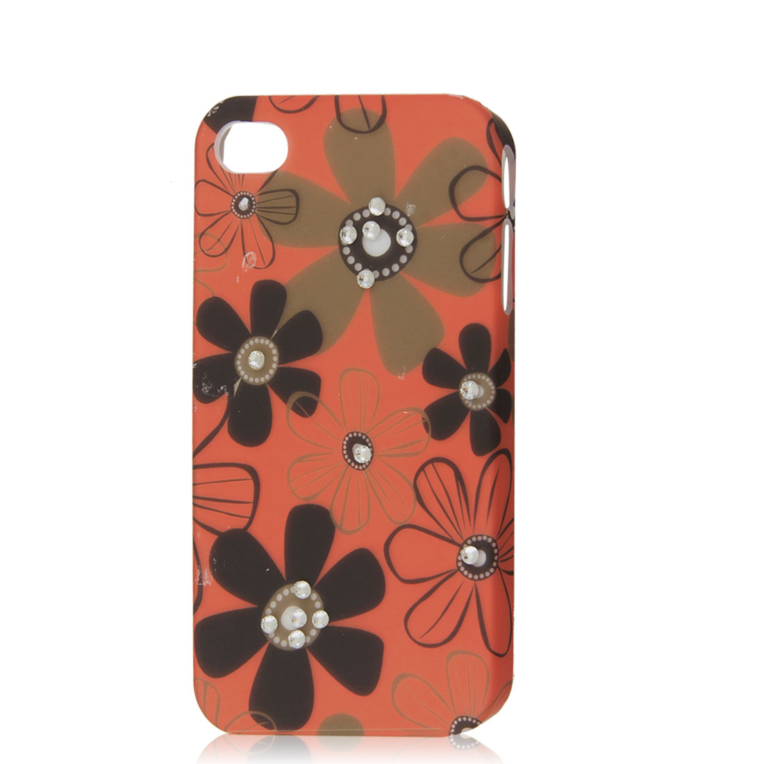 Orange Red Rhinestone Flower Protective Hard Back Case Cover Skin for iPhone 4 4G