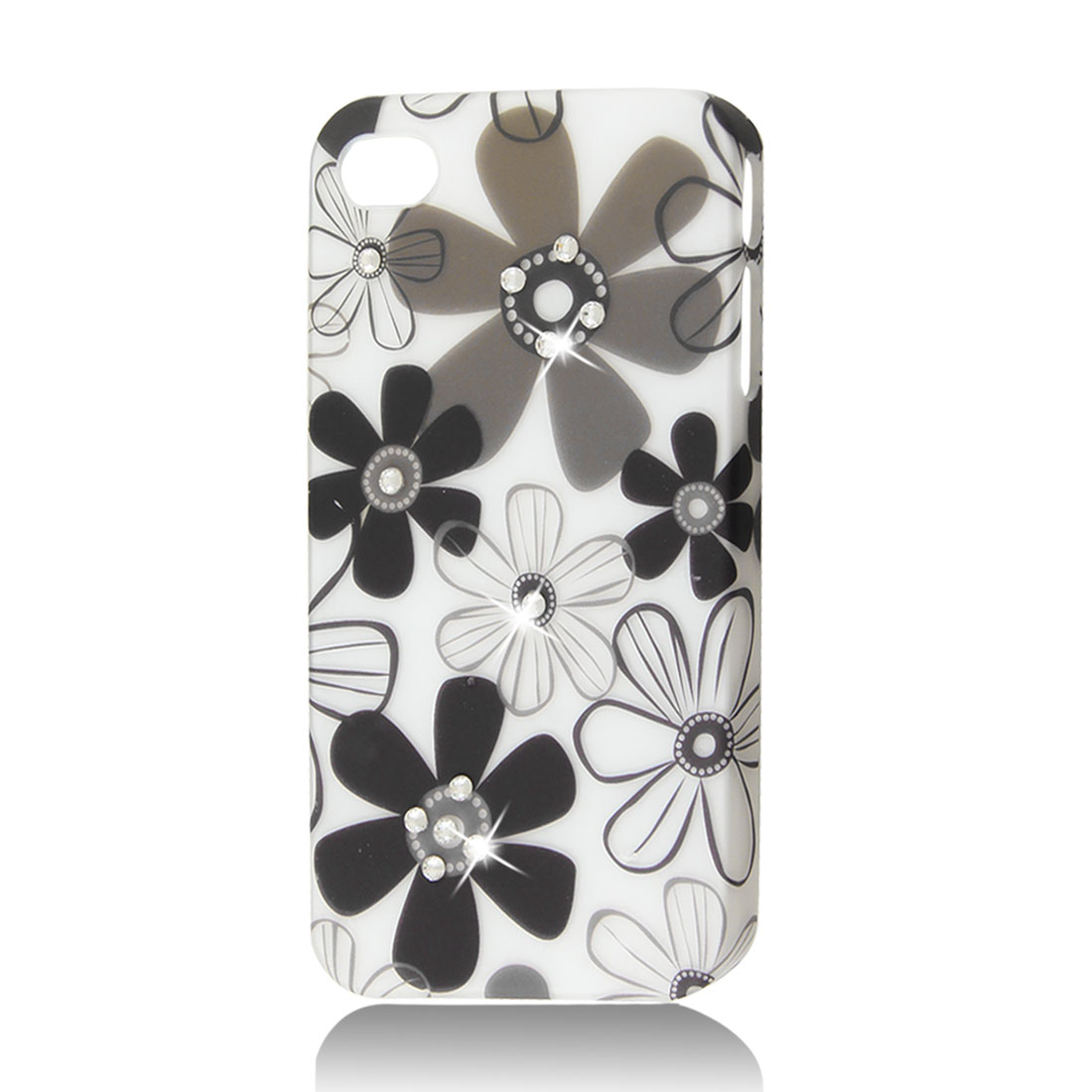 White Rhinestone Flower Protective Hard Back Case Cover Skin for iPhone 4 4G