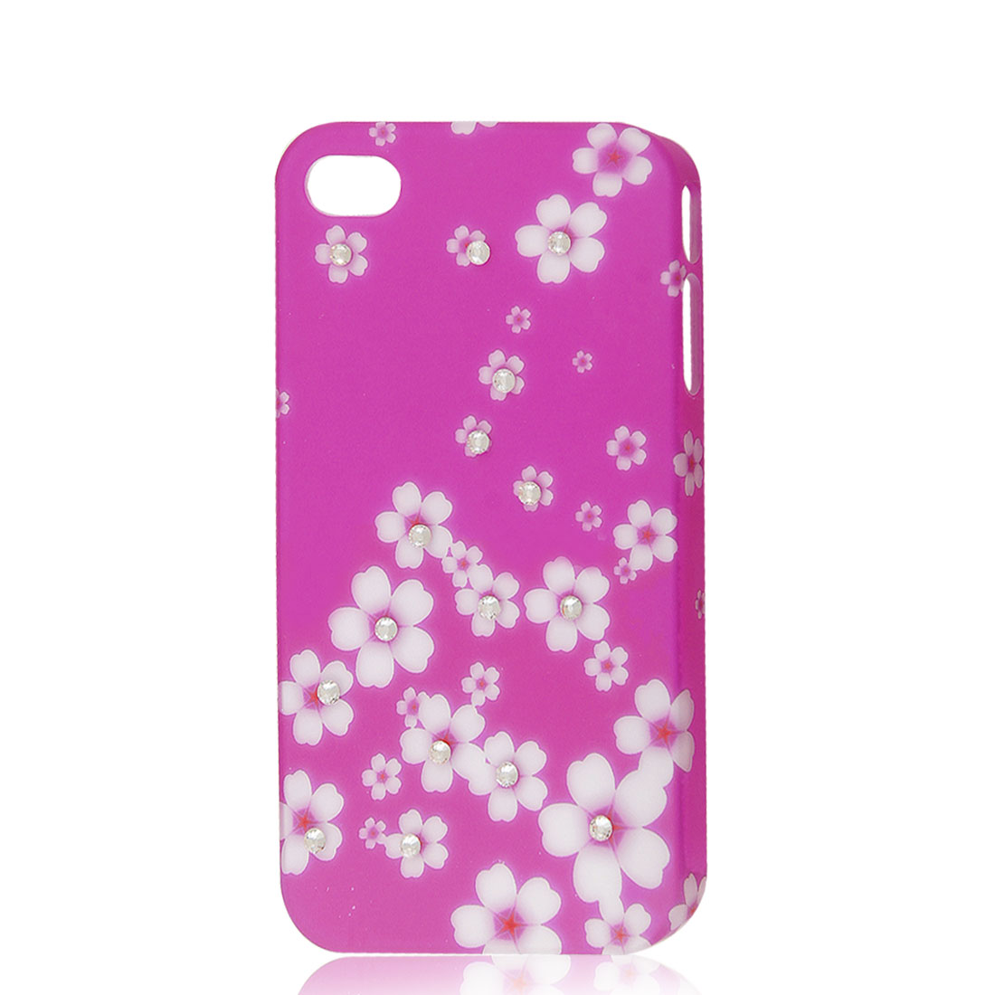 Glitter Rhinestone Flower Hard Case Back Cover Fuchsia for iPhone 4 4G