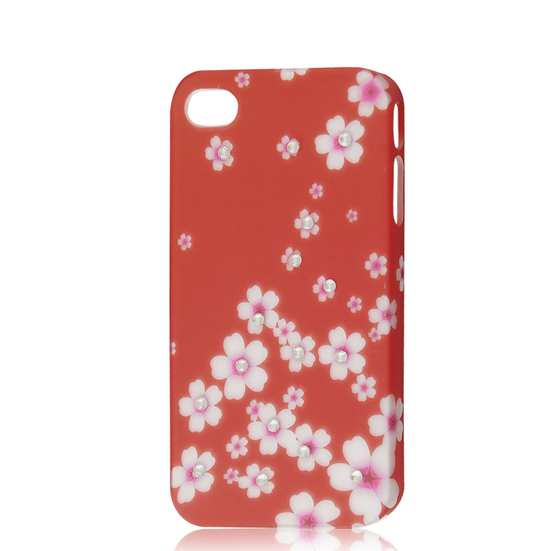 Glitter Rhinestone Flower Hard Case Back Cover Orange Red for iPhone 4 4G