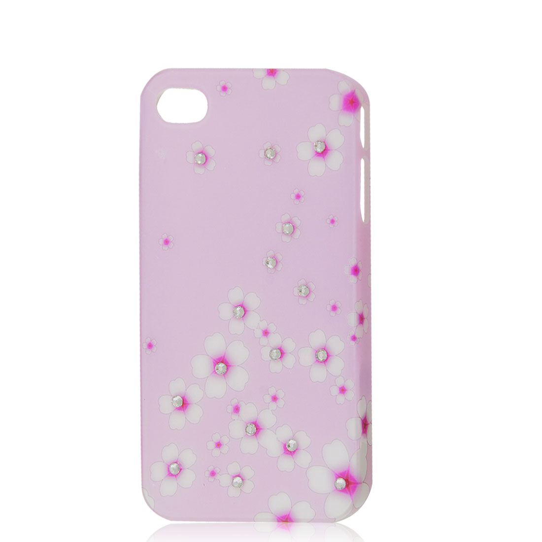 Glitter Rhinestone Flower Hard Case Back Cover Light Pink for iPhone 4 4G