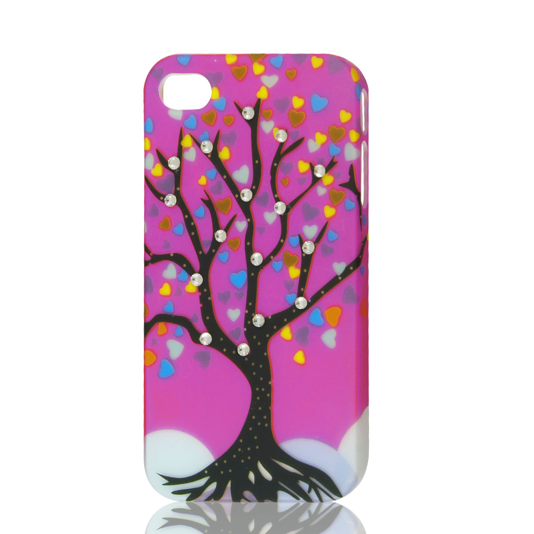 Fuchsia Rhinestone Tree Heart Design Hard Back Case Cover Skin for iPhone 4 4G