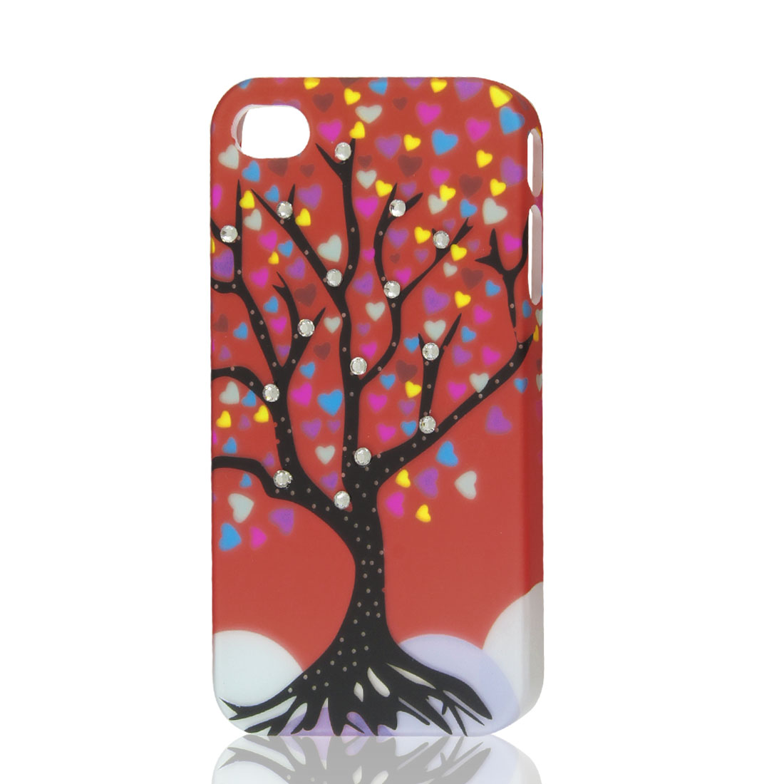 Rhinestone Tree Heart Design Orange Red Hard Back Case Cover for iPhone 4 4G