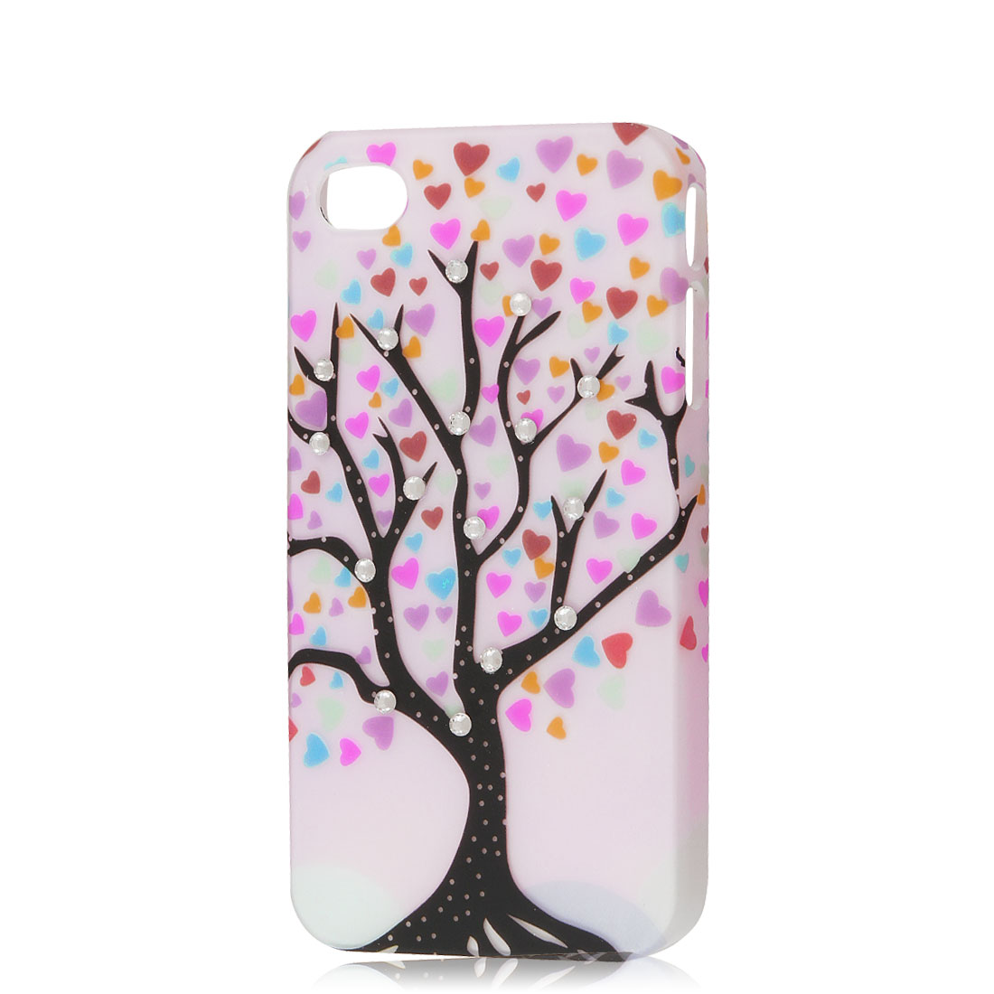 Light Pink Rhinestone Tree Heart Design Hard Back Case Cover Skin for iPhone 4 4G