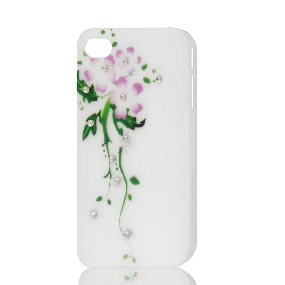White Bling Glitter Rhinestone Flower Hard Back Case Cover for Apple iPhone 4 4G