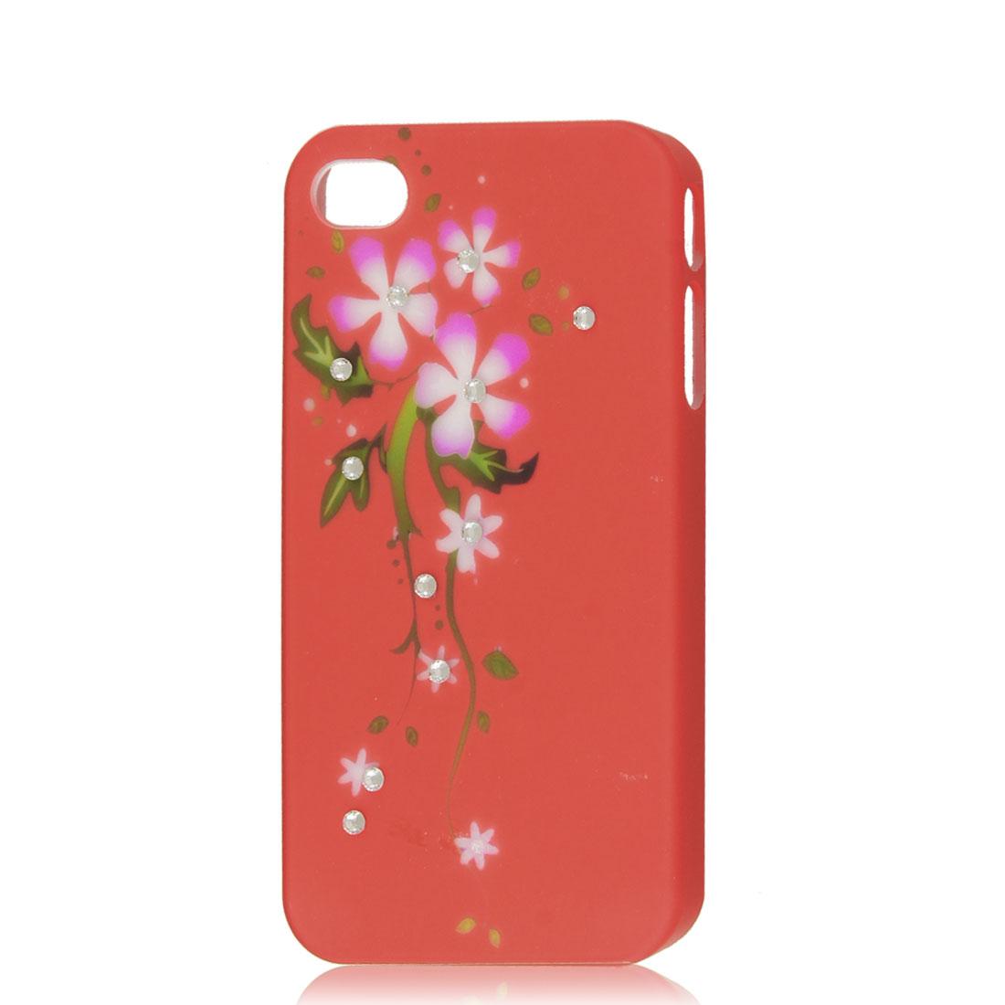 Orange Red Bling Glitter Rhinestone Flower Hard Back Case Cover for Apple iPhone 4G