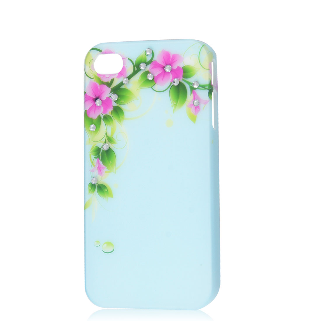 Light Blue Glitter Rhinestone Flower Protective Hard Back Case for iPhone 4 4G