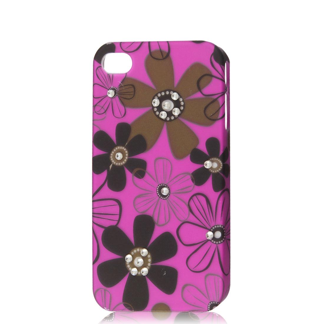 Fuchsia Rhinestone Flower Protective Hard Back Case Cover Skin for iPhone 4 4G