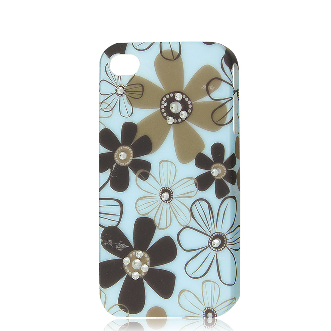 Light Blue Rhinestone Flower Protective Hard Back Case Cover Skin for iPhone 4 4G