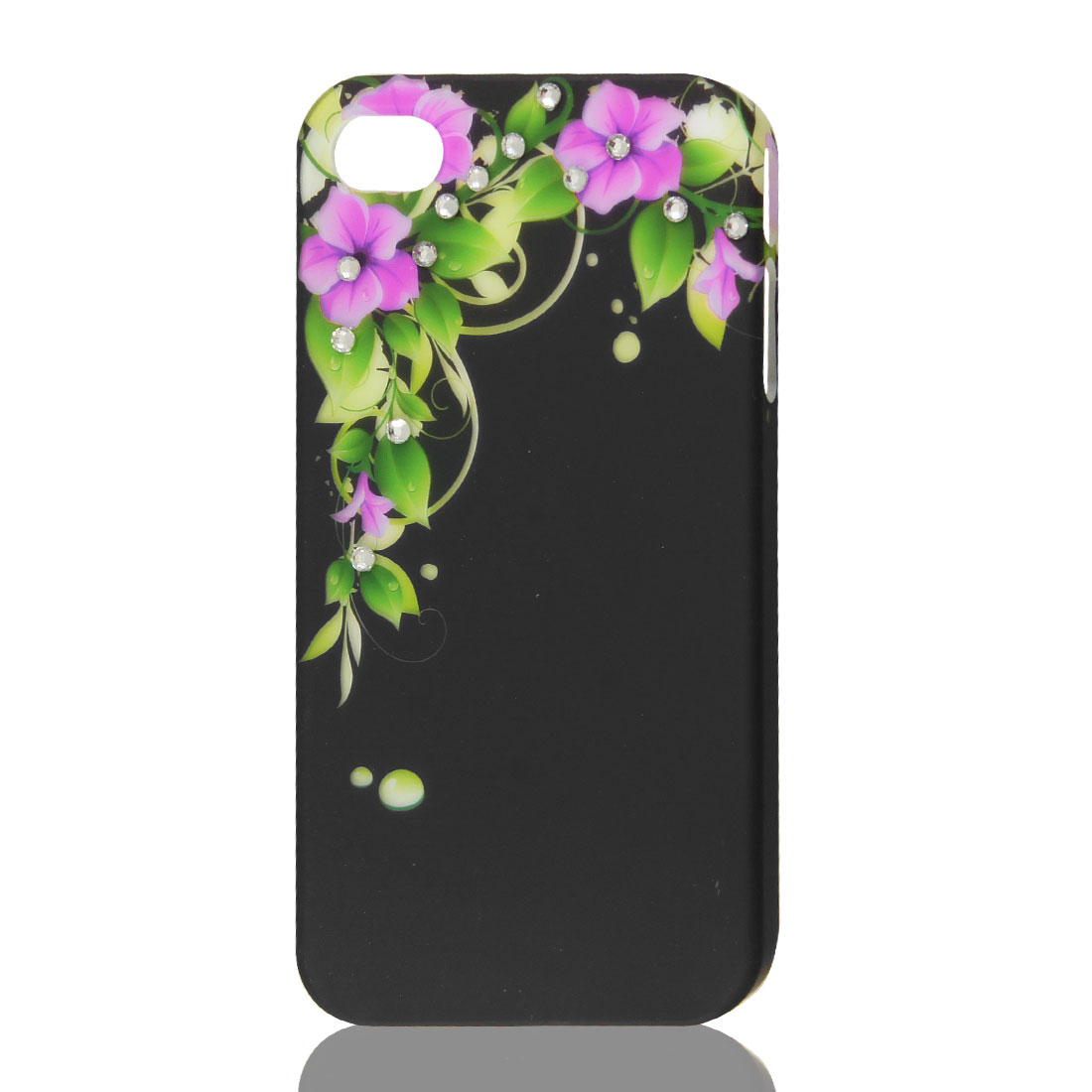 Black Glitter Rhinestone Flower Hard Back Case Cover Protector for iPhone 4G