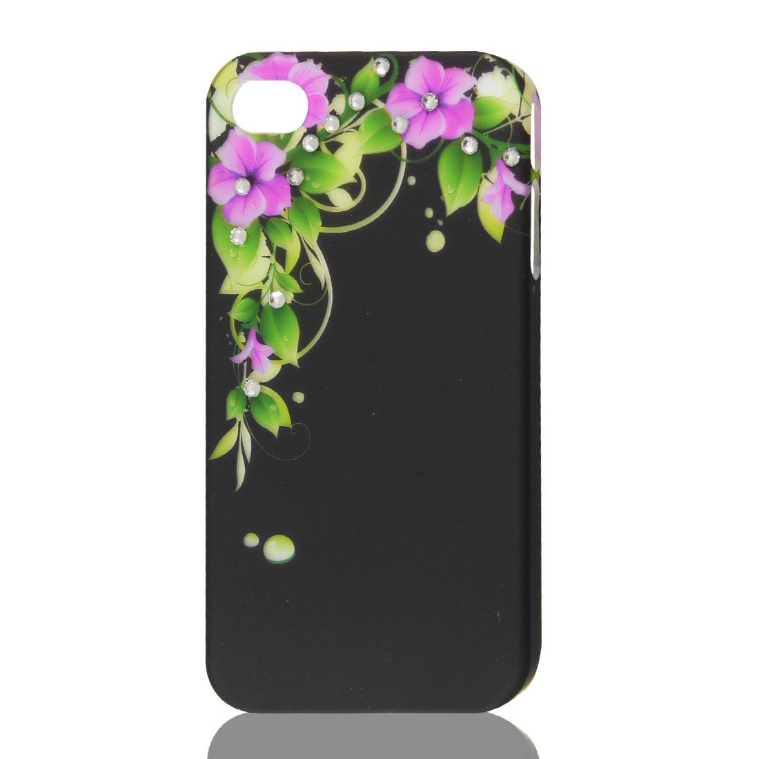 Black Glitter Rhinestone Flower Hard Back Case Cover Protector for iPhone 4G