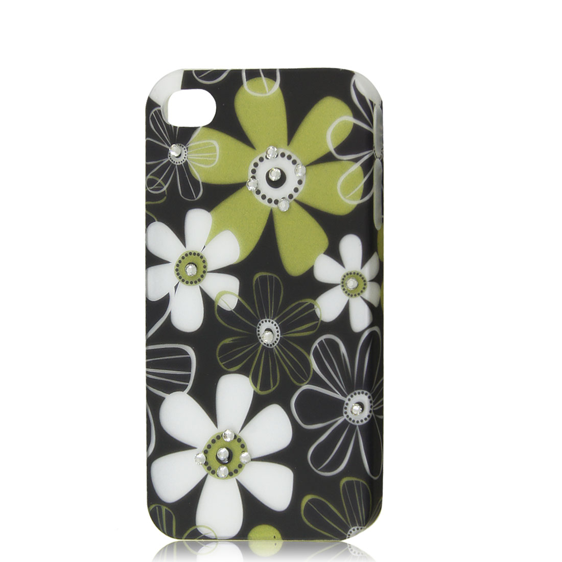 Black Rhinestone Flower Protective Hard Back Case Cover Skin for iPhone 4 4G