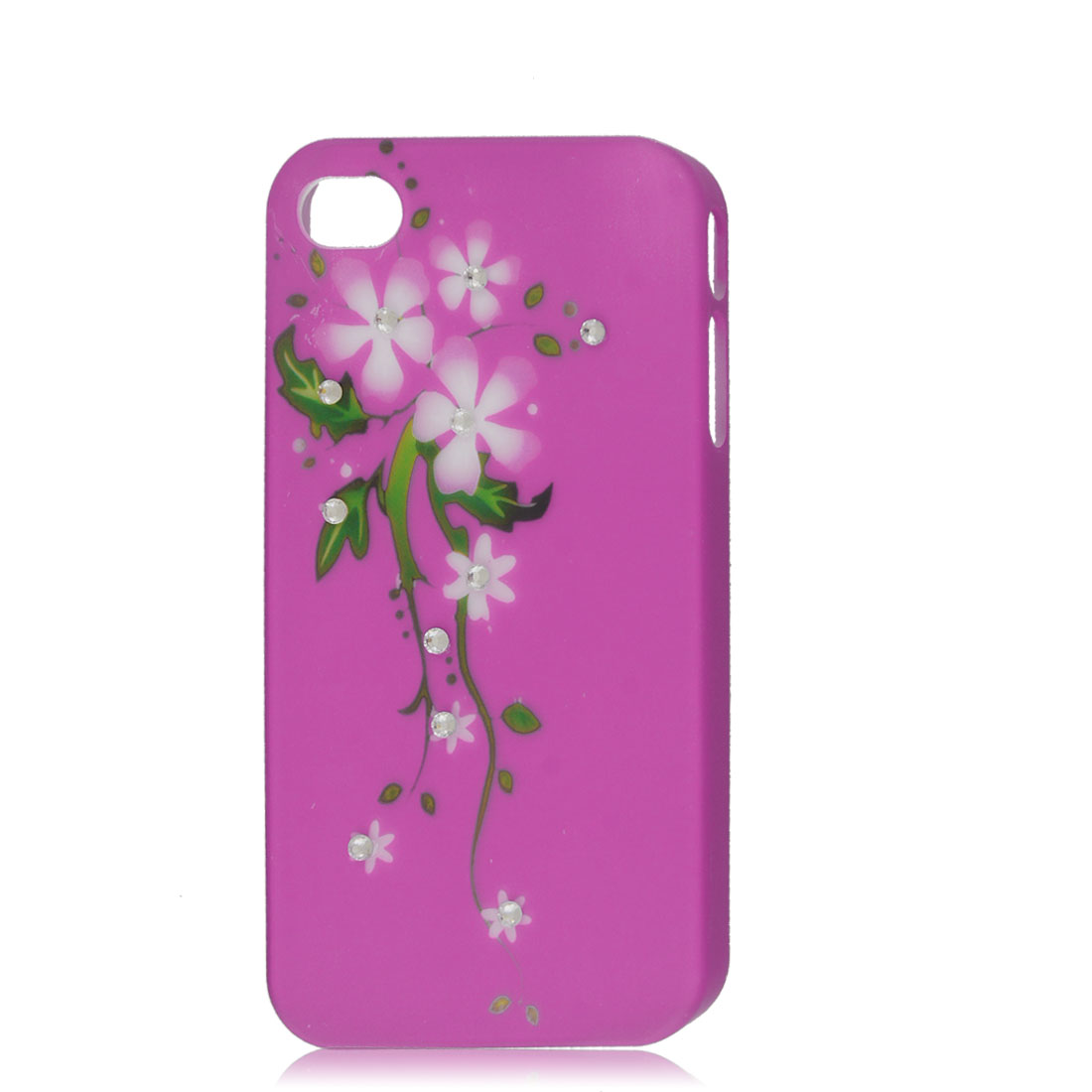 Fuchsia Bling Glitter Rhinestone Flower Hard Back Case Cover for Apple iPhone 4G