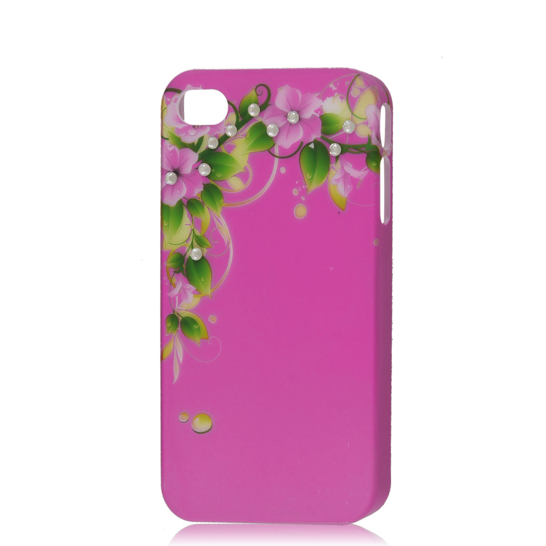 Fuchsia Glitter Rhinestone Flower Hard Back Case Cover Protector for iPhone 4G