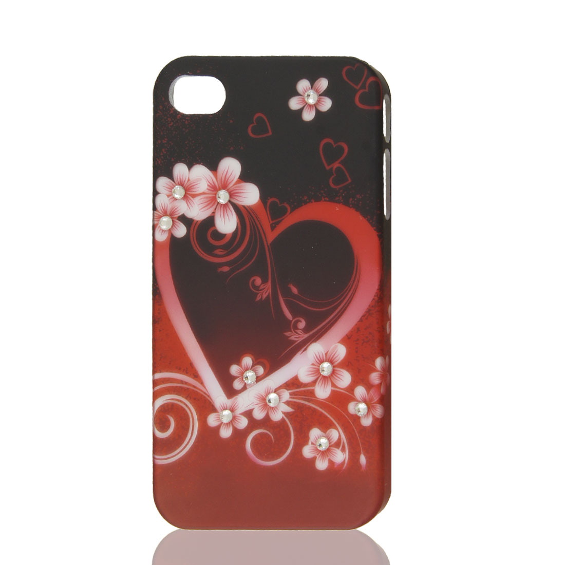 Orange Red Glitter Rhinestone Heart Flower Hard Back Case Cover for iPhone 4 4G