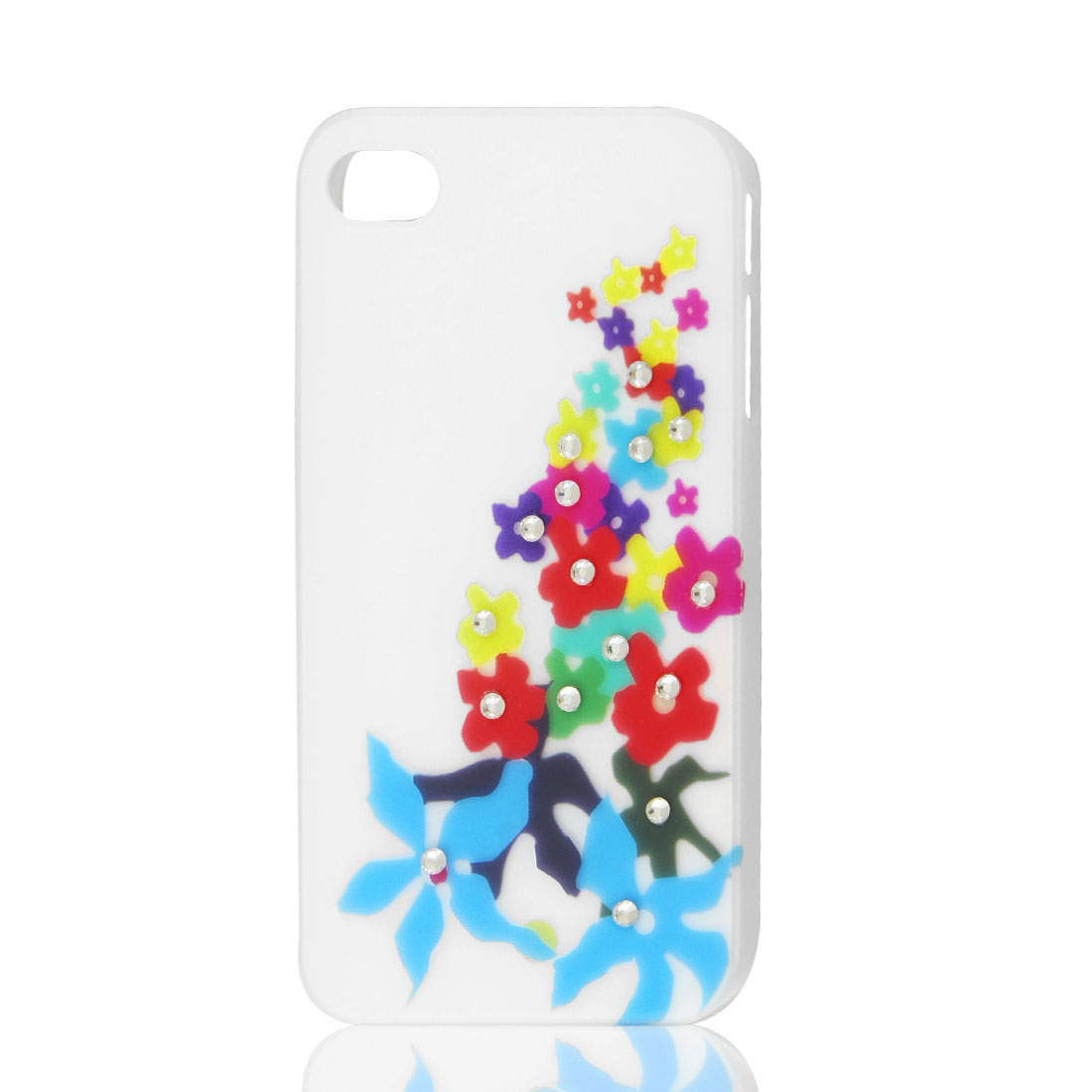 White Glitter Rhinestone Flower Hard Back Case Cover Shell for iPhone 4 4G