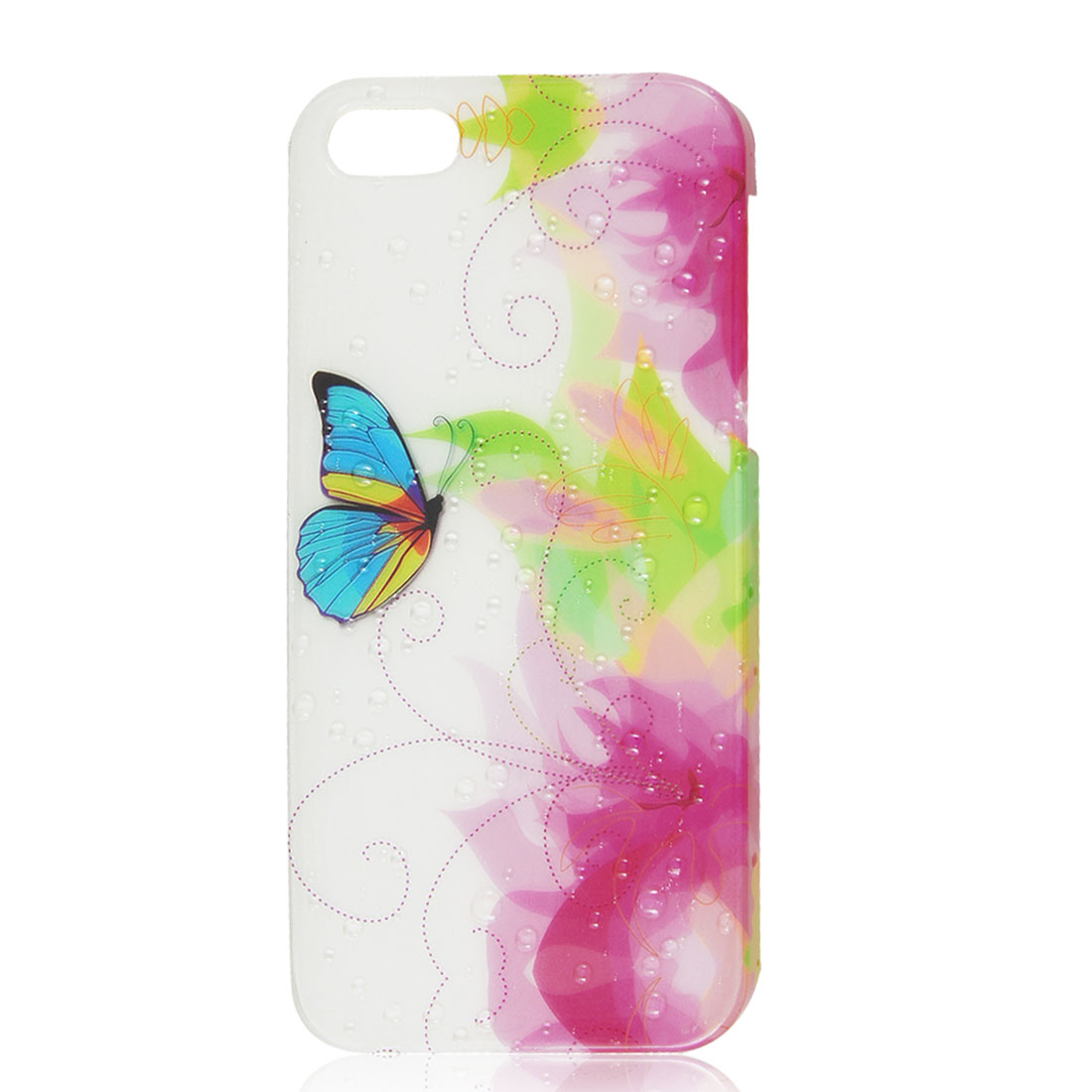 Fuchsia White Floral Butterfly 3D Waterdrop Hard Back Case Cover for iPhone 5 5G