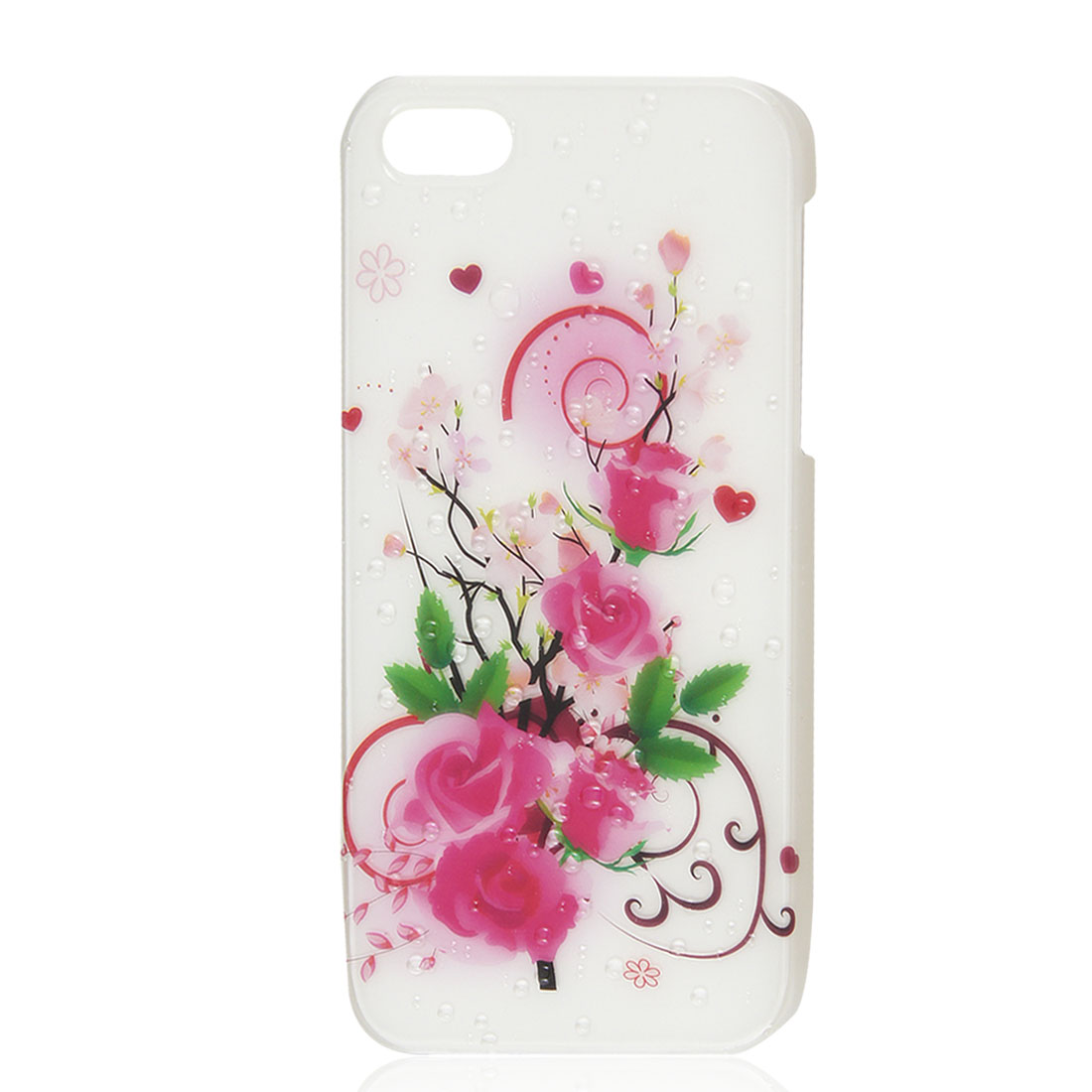 White China Floral Rose 3D Water Drop Hard Back Case Skin Cover for iPhone 5 5G