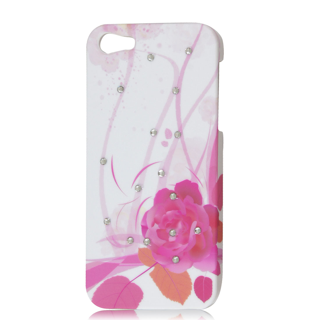 Pink Peony Flower Leaf Rhinestone Hard Back Case Cover White for iPhone 5 5G