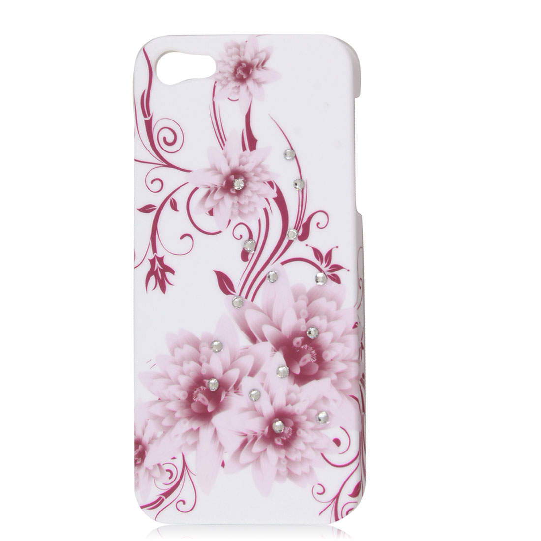 Glitter Rhinestone Pink Flower Back Case Cover Hard Shell White for iPhone 5 5G