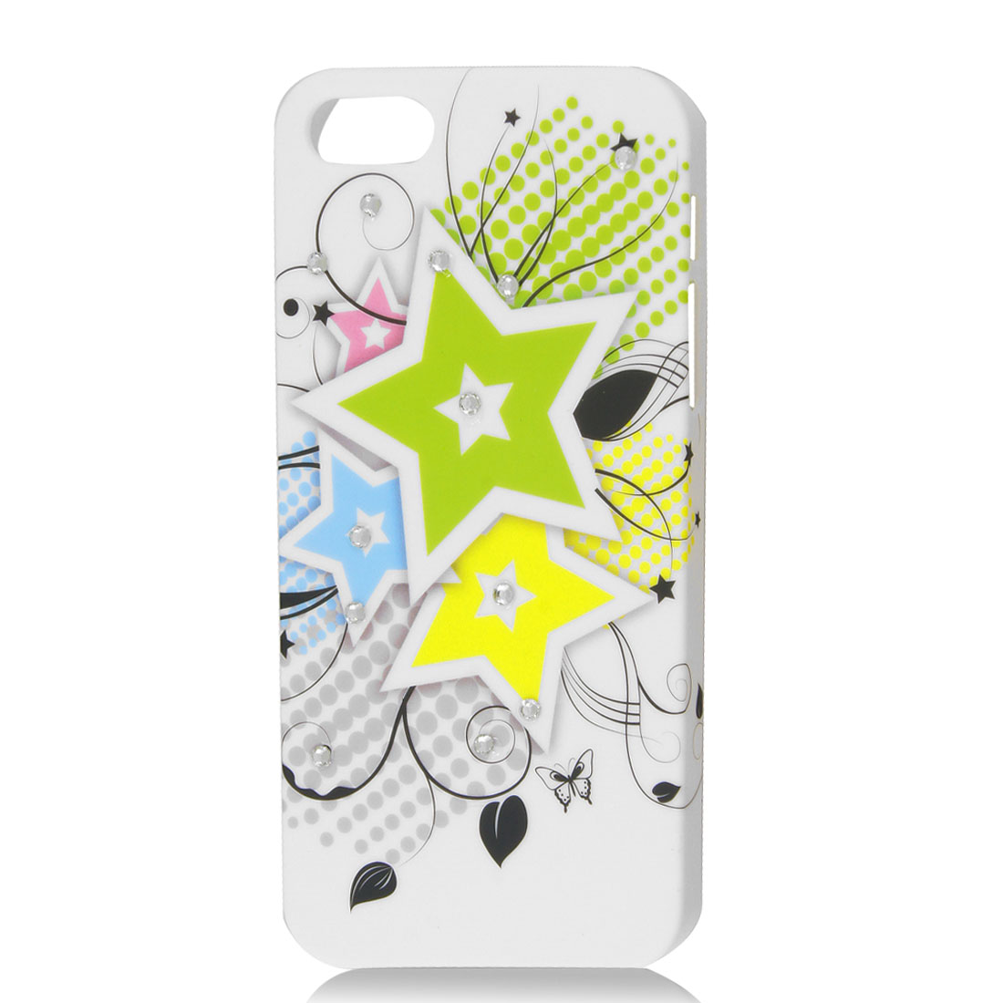 White Rhinestone Dot Star Design Hard Shell Back Case Cover Skin for iPhone 5 5G
