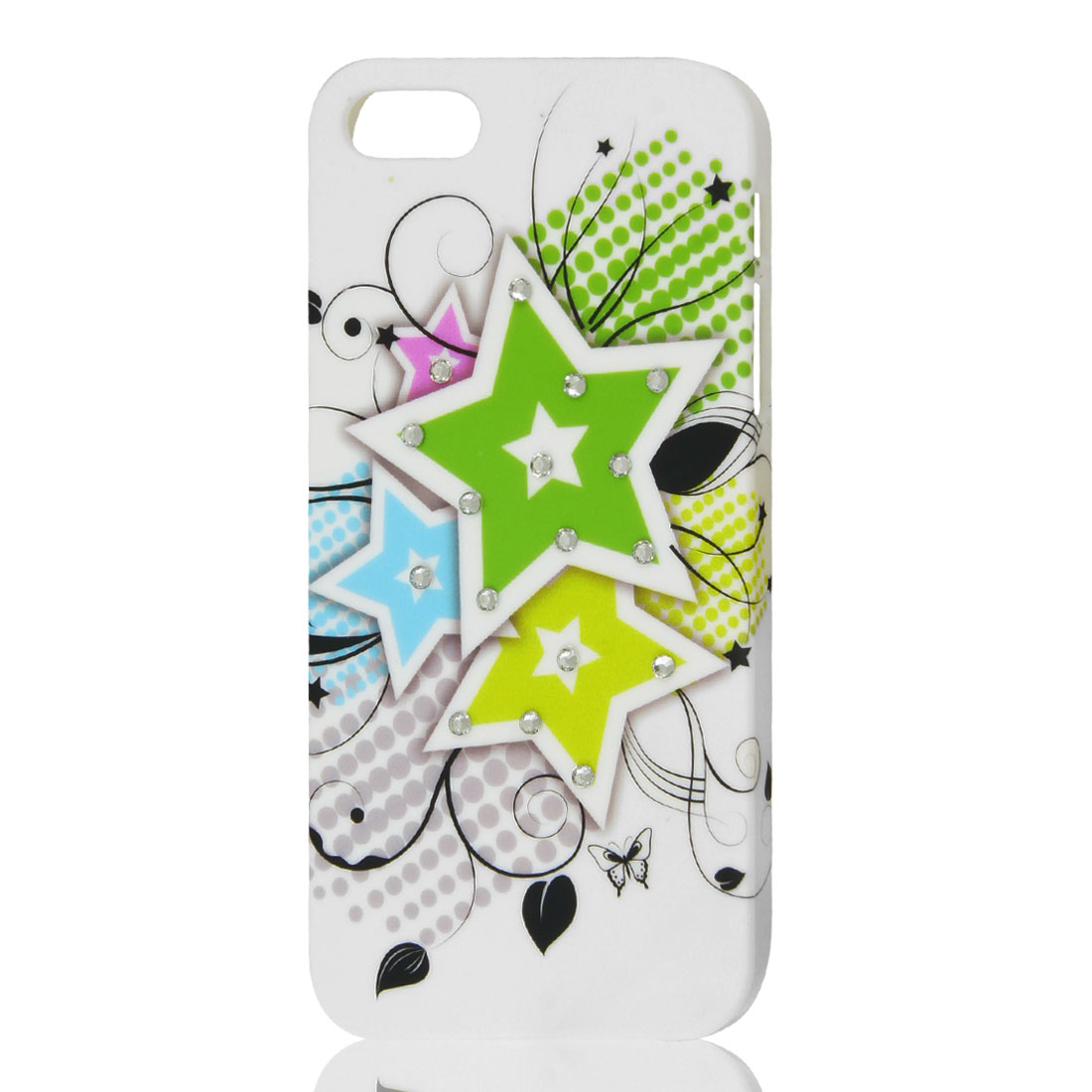 White Glitter Rhinestone Dots Star Pattern Hard Back Case Cover for iPhone 5 5G