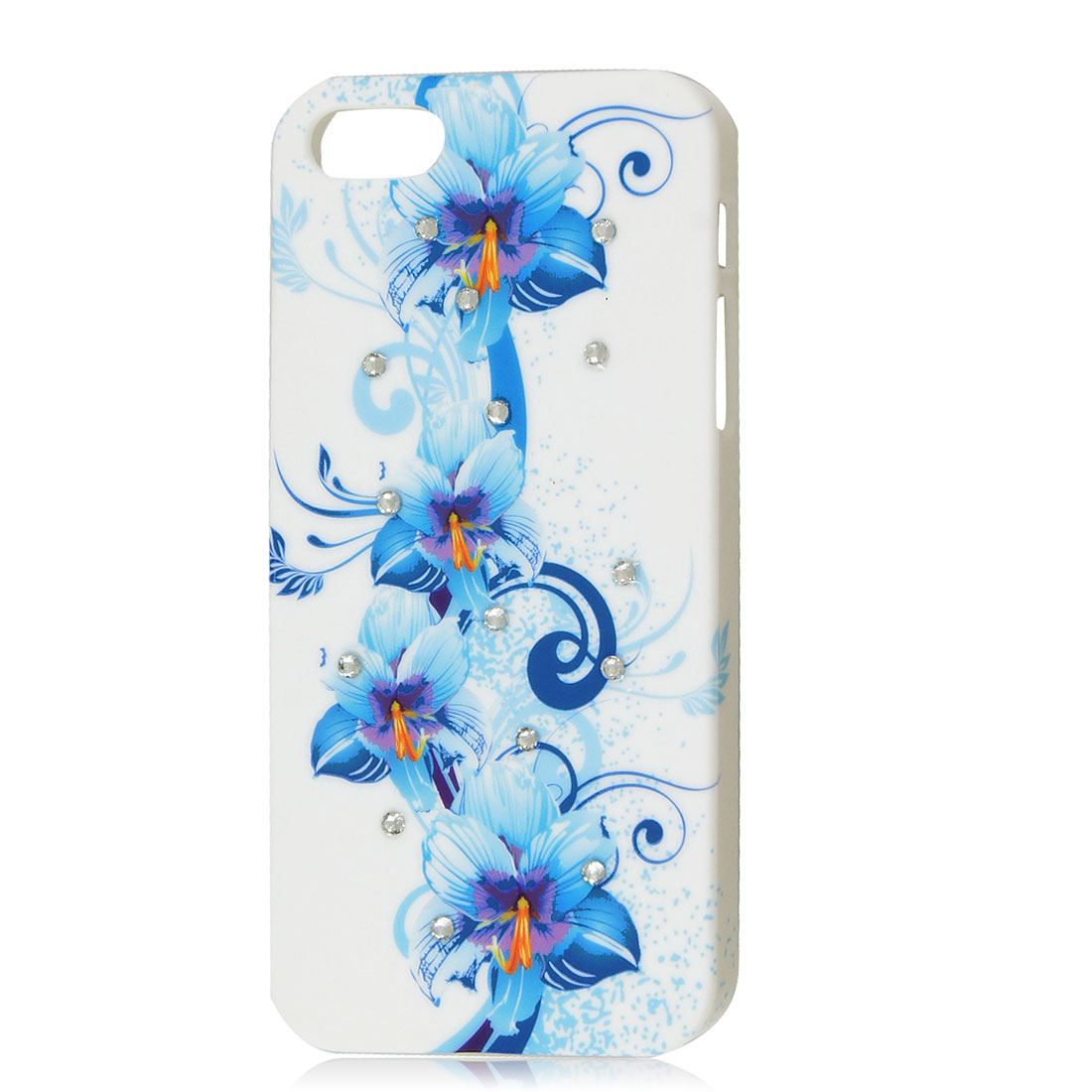 Shiny Rhinestone Blue Flower Hard Back Case Cover Protector White for iPhone 5G