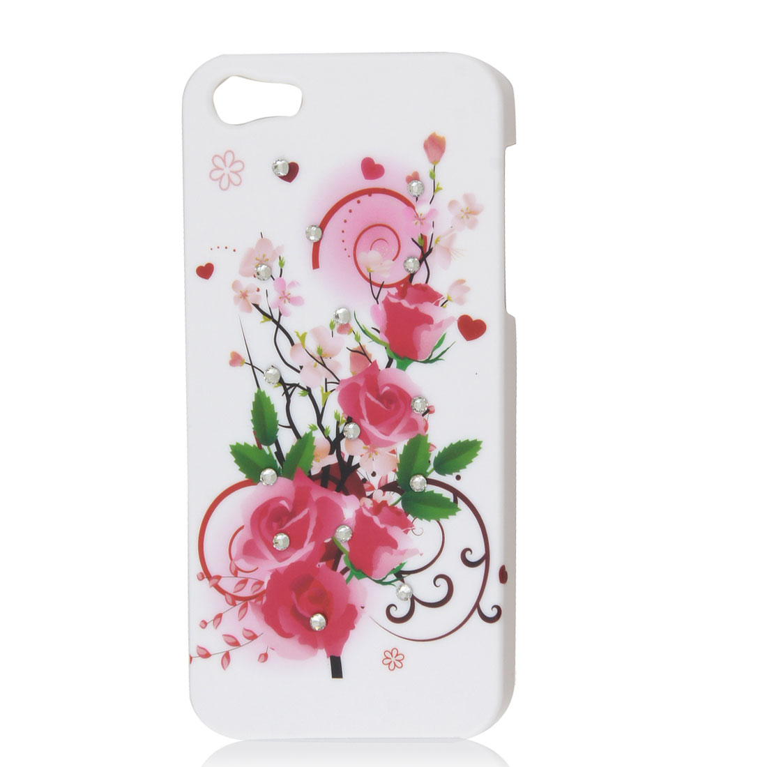 Glitter Pink Rose Flower Heart Hard Back Case Cover Skin White for iPhone 5 5G