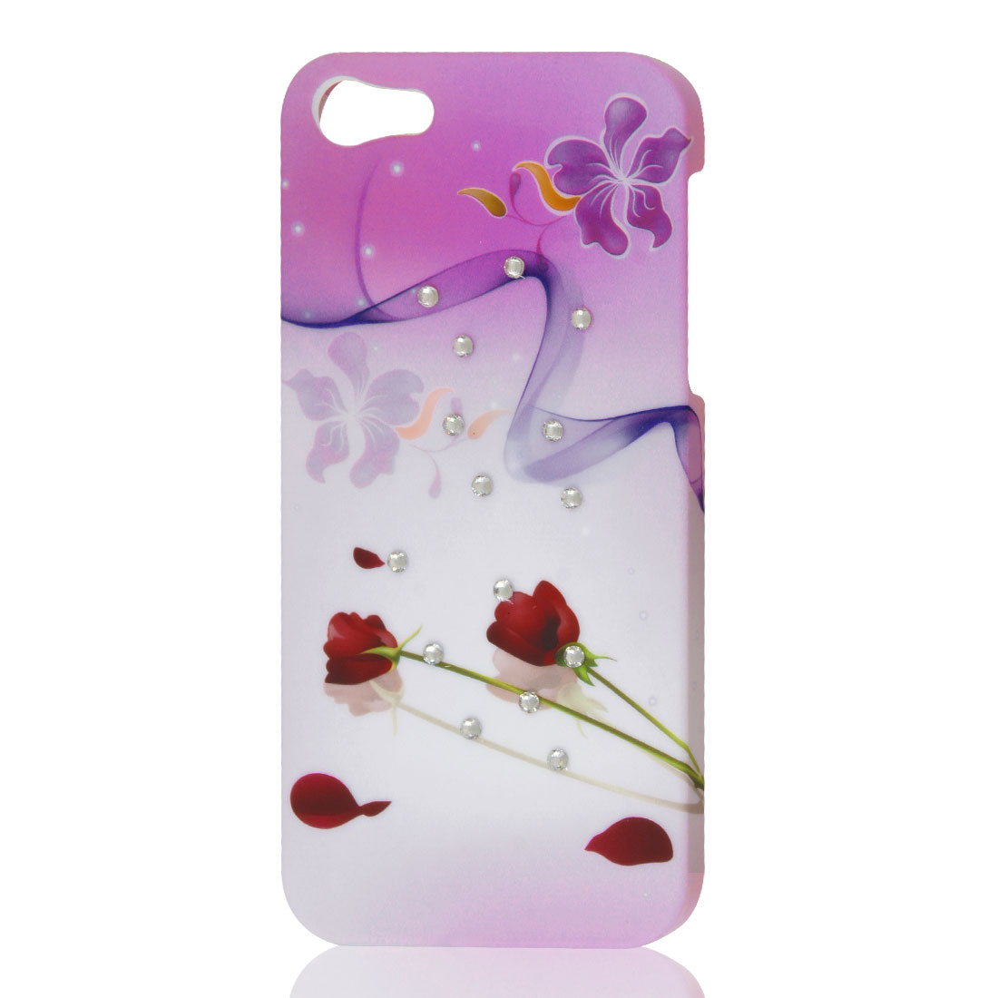 Red Rose Light Purple Flower Rhinestone Hard Back Case Cover Shell for iPhone 5 5G