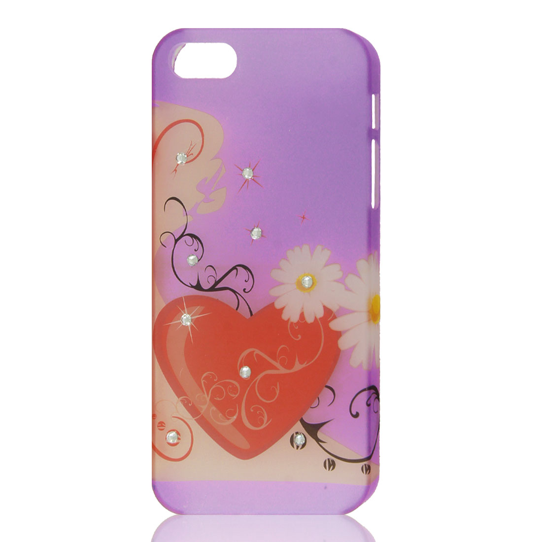 Floral Heart Love Bling Glitter Rhinestone Hard Back Case Cover for iPhone 5 5G