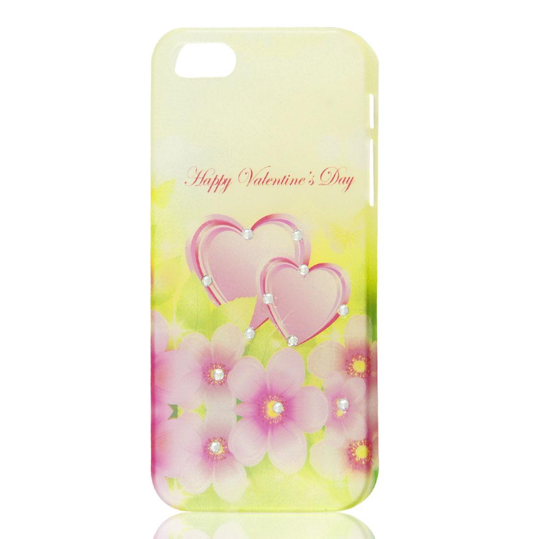 Flower Heart Glitter Sparkle Rhinestone Hard Back Case Cover for iPhone 5 5G