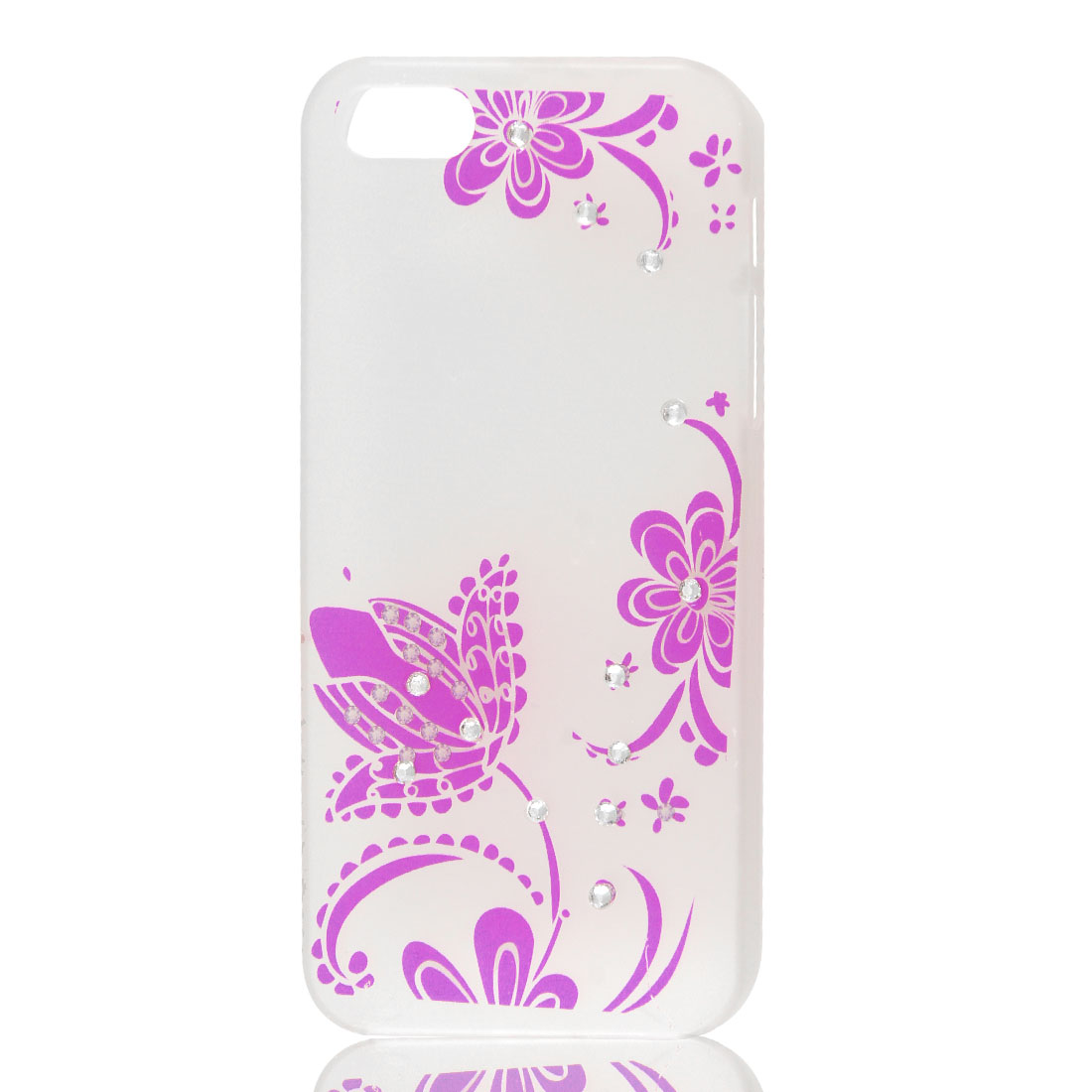 Fuchsia Floral Bling Glitter Rhinestone Hard Back Case Cover for iPhone 5 5G