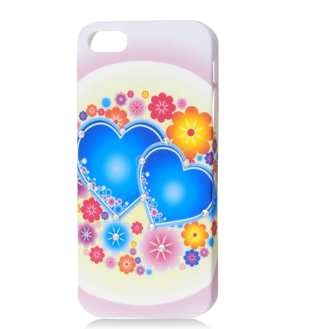 Blue Heart & Flower Bling Sparkle Rhinestone Hard Back Case Cover for iPhone 5 5G