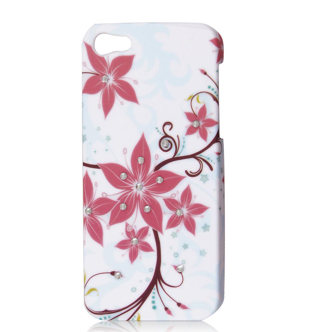 Bling Rhinestone Vine Flower Protective Hard Back Case Cover White for iPhone 5G