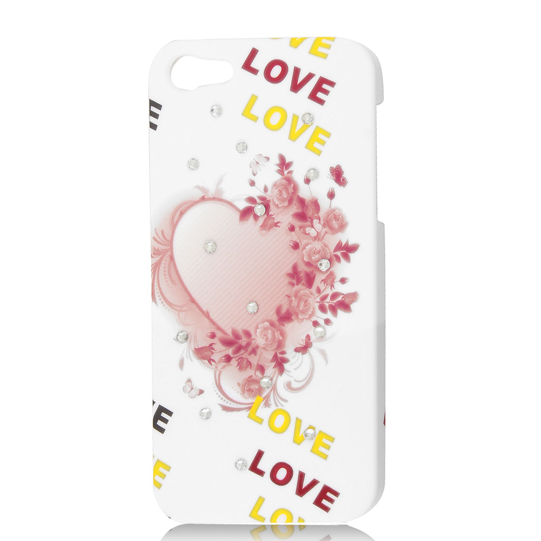 White Floral Heart Love Glitter Rhinestone Hard Case Back Cover for iPhone 5 5G