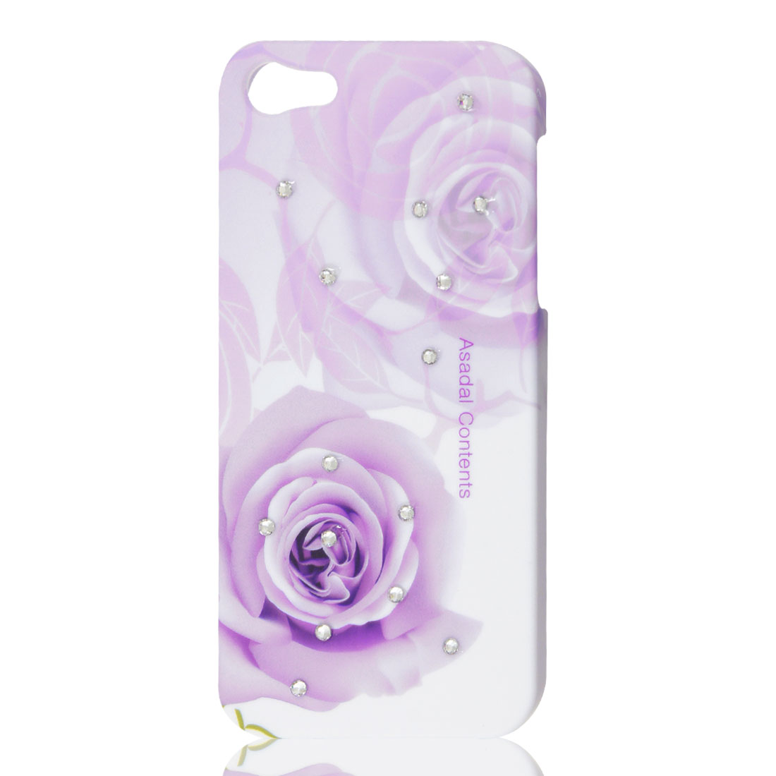 Glitter Rhinestone Rose Flower Pattern Hard Shell Back Case for Apple iPhone 5G