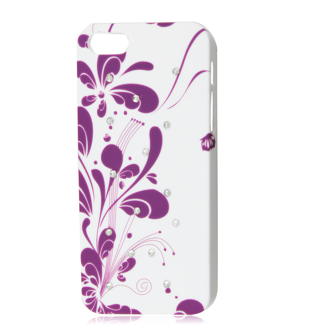 Shiny Rhinestone Violet Vine Flower Phone Hard Shell Back Case White for iPhone 5