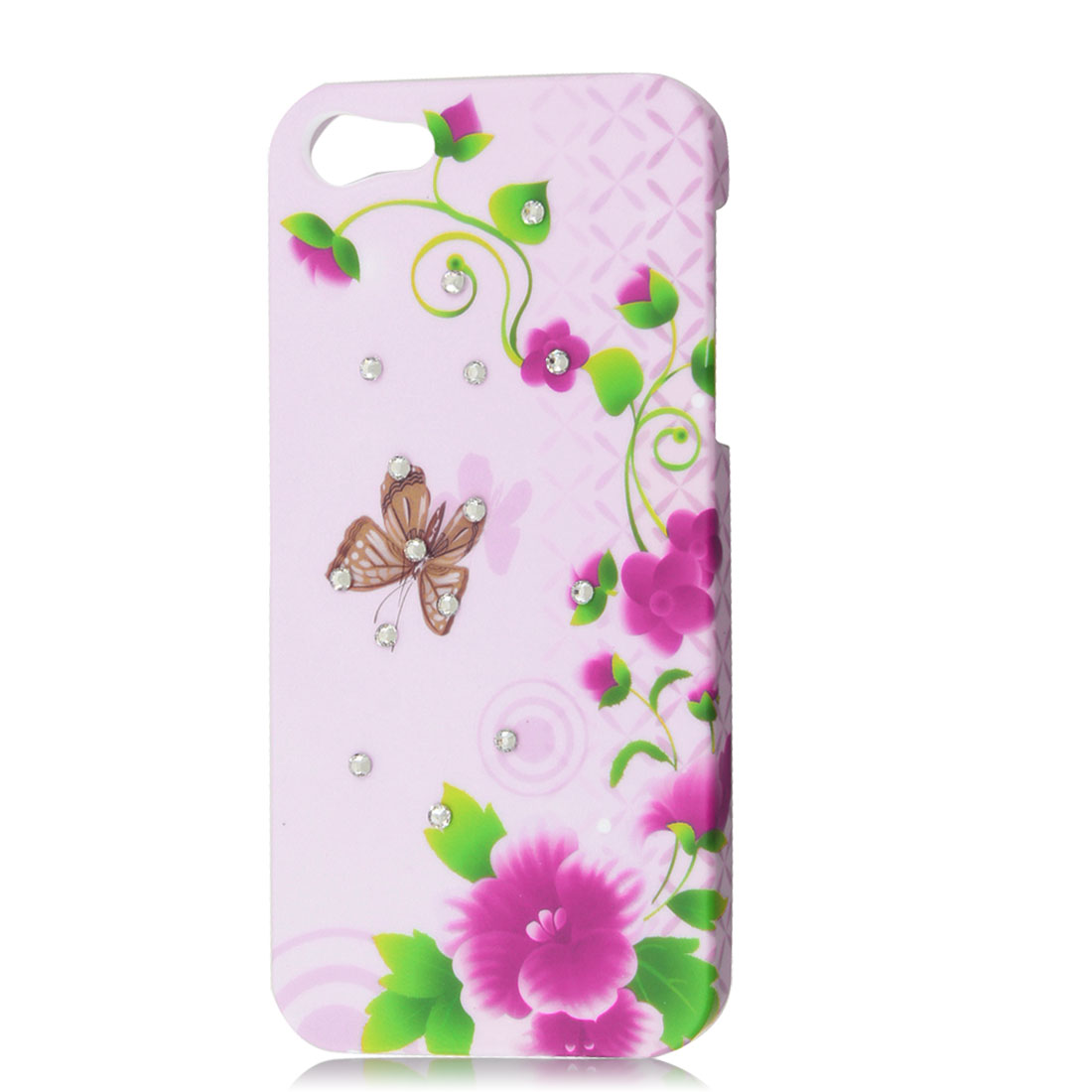 Shiny Rhinestone Butterfly Green Leaf Pink Flower Hard Back Case for iPhone 5 5G